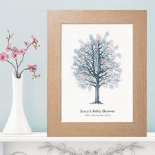 A4 Baby Shower Fingerprint Tree - Personalised With Own Text - Supplied With a Pink and a Blue Inkpad